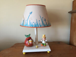 Vintage nursery lamp with music box and night light