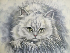 THOMAS LEE PERSIAN CAT OIL PAINTING FOR SALE