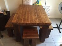 Handmade solid wood excellent quality table and benches