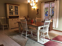Hutch,Buffet and Harvest Table with chairs