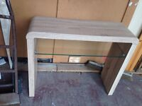 Oak console table with glass shelf new
