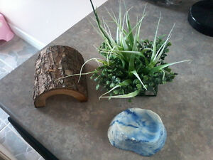 Lot of 3 Reptile Accessories (Plant, Food Dish, Wood Cave)