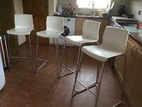 Breakfast Bar Chairs Tall White Ikea Glenn x 4 (Will Split)