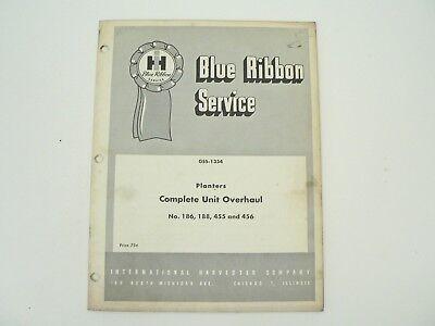 Planters 186 188 455 456 Complete Overhaul Service Manual Intl Harvester 1964