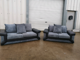 Black & grey 3+2 seater sofas couches suite 🚚🚚