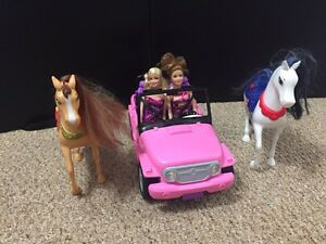 Barbie jeep and horses