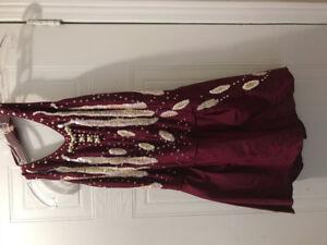 Custom burgundy figure Skating Dress