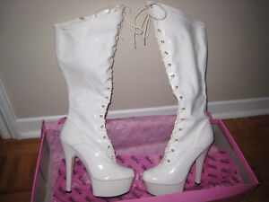 White Platform boots Hollywood Heels 8 Dancing Sexy Knee-High