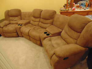 Microsuede Half Moon Reclining Sectional with Ottoman