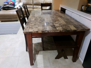 Granite table chairs and bench