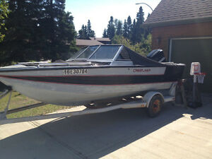 16ft Crestliner, trailer and 100hp Mercury for sale.