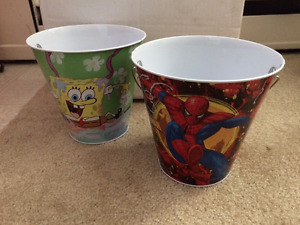 SpongeBob & Patrick and Spider-Man Pails for sale