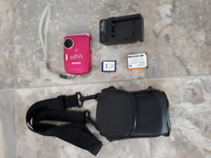 Fuji camera with charger SD card battery and carrying case