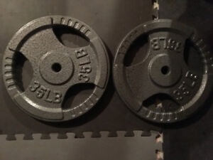 weight plates two 35lbs standard size cast iron $30.00
