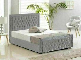 💖STYLISH & COMFORTABLE🔵DOUBLE SIZE PLUSH VELVET HEAVEN BED FRAME w OPTIONAL MATTRESS-.