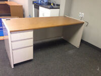 FREEE!!!! 3 beige metal with wood tops Desks