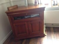 Solid wood tv cabinet with storage swivel top rotates