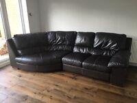 Dark brown leather corner sofa settee