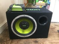 Fusion 12 inch car subwoofer with Fusion 300W EM-AM 3002 amp