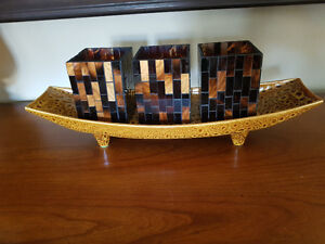 Partylite Ambience votive holders with a tray