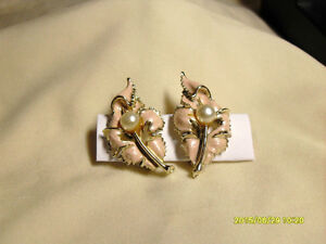 3. Vintage Clipon Earrings - Pink Leaf & Pearl