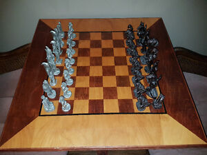 Chess set- Lord of the rings pewter men on custom table