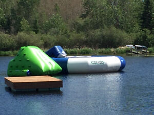 Floating Trampoline water slide rock climbing trades considered
