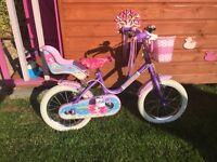 Sunbeam mermaid girls 14 inch wheel bike pink and purple