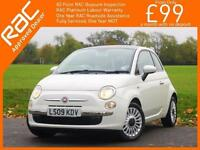2009 Fiat 500 1.2 Lounge 5 Speed Sunroof Bluetooth Air Conditioning Just 1 Priva