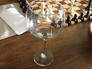 4 Large Red Crystal wine glasses