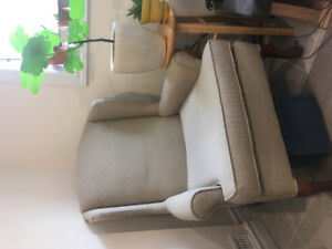 Beautiful beige armchair— super comfy! Must go by April 21st