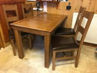 Solid Oak Dining Set - Table 4ft and 4 chairs