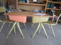 Two Old School Kids' Desks with Separate Chairs