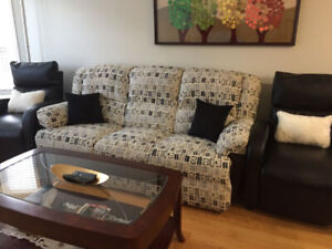 FREE 3-seater Recliner Sofa with matching pull-out chair
