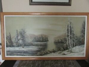 Large framed oil painting on canvas