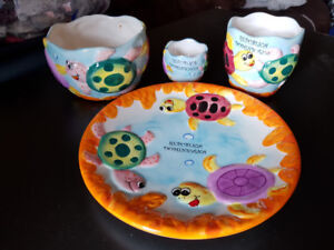 Child's 4 piece table setting from the Dominican Republic.