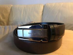 SALVATORE FERRAGAMO Brown Leather Brass Buckle Belt Size 44