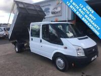 2009 59 FORD TRANSIT T350 6 SPEED 115BHP DRW CREW CAB 3 WAY TIPPER ONE STOP BODY
