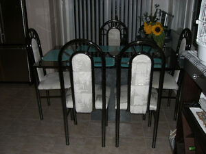 Black chrome dining chairs x 6 with Glass dining table