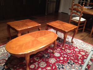 Solid Oak Coffee table with 2 End tables