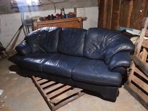 Blue Leather Couch, Decent Condition
