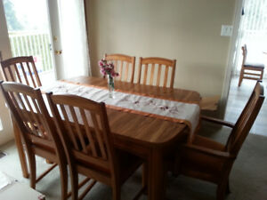 Light Oak Dining Table & Chairs - $400 - Salmon Arm