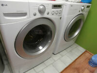 LG washer&dryer front load bout home left by old owner 3 years o