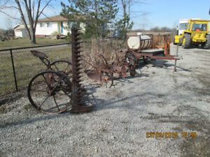 3 old farm implements