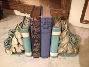 Vintage Library Pair Devonware Chalkware Bookends, Canada