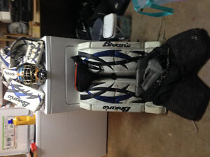 Full set of goalie equipment without skates or stick