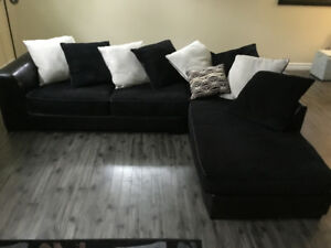 Large Sectional Black Corduroy Fabric and Leatherette Sofa