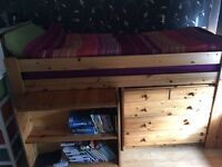 Pine Cabin bed with desk for sale (collection only)
