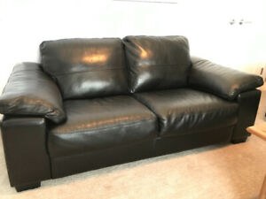 Black bonded leather couch and loveseat