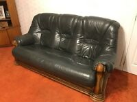 Leather and wood sofa - 3 seater